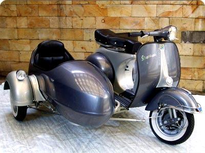 Piaggio Vespa Scooter And Sidecar